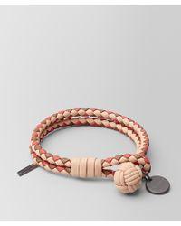 Bottega Veneta - Peach Rose Intrecciato Lamb Club Bracelet - Lyst