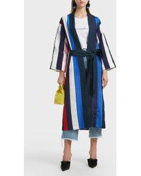 Natasha Zinko Striped Twill Robe - Blue