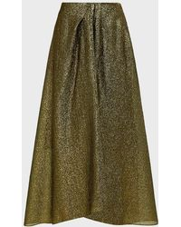 Roland Mouret Mulligan Metallic Organza Skirt - Green