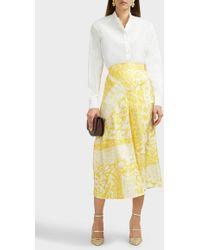 Victoria Beckham Silk Leopard Print Skirt - Yellow