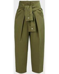 Alexander Wang Tie-waist Pleated Carrot Trousers - Green