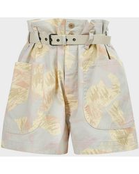 Étoile Isabel Marant Rike Printed Belted Shorts - Multicolour