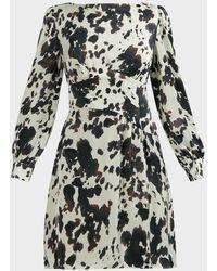 ALEXACHUNG Bessie Cow-print Satin Mini Dress - Black