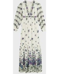 Andrew Gn Lace-trimmed Floral Maxi Dress - Multicolor