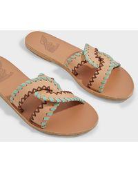 Ancient Greek Sandals Desmos Stitch Leather Slides - Multicolour