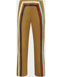 Rosie Assoulin Walk The Plank Striped Cotton-twill Trousers - Brown