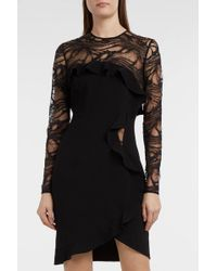 Elie Saab - Ruffle-trimmed Jersey And Lace Dress, Fr38 - Lyst