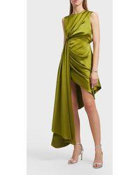 Off-White c/o Virgil Abloh Asymmetric Satin Dress - Green