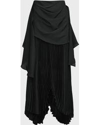 Awake High-waist Pleated Midi Skirt - Black