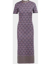 Paco Rabanne Printed Short-sleeve Bodycon Dress - Purple