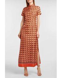For Restless Sleepers - Eutenea Printed Silk-twill Dress - Lyst