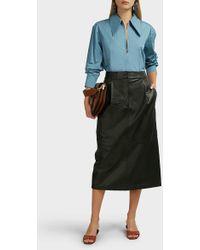 Tibi Tissue Pleated Leather Skirt - Black