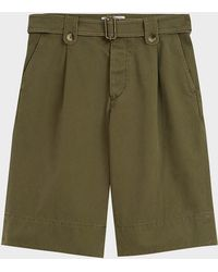 JW Anderson Washed Belted Cotton Shorts - Green