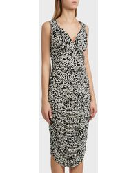 Norma Kamali - Tara Printed Dress, Size M, Women, Black - Lyst