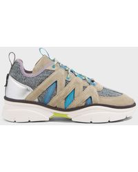 Isabel Marant Kinbee Leather-suede Sneakers - Blue