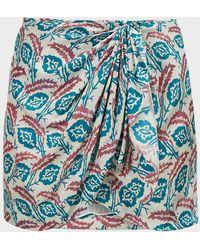 Isabel Marant Renzia Printed Silk Mini Skirt - Blue
