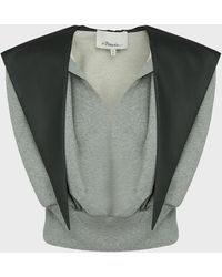 3.1 Phillip Lim Hooded Terry Cotton Top - Multicolour