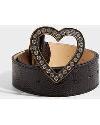 Alessandra Rich - Heart-embellished Lizard Skin Belt - Lyst