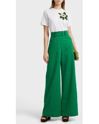 Martin Grant High-waisted Cotton And Linen-blend Trousers - Green