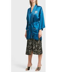 Forte Forte Flower Embroidered Satin Robe - Blue