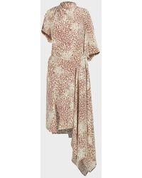 Petar Petrov Alani Printed Asymmetric Silk Dress - Natural