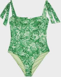 Ganni Floral Tie-detail Swimsuit - Green