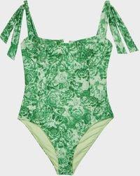 Ganni Floral Tie-detail Swimsuit - Green