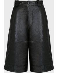 Ganni High-waist Leather Shorts - Black
