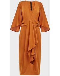 Petar Petrov Adele Ruffled Silk-georgette Dress - Orange