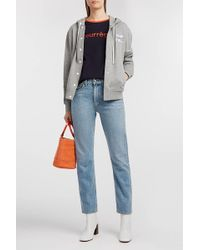 Courreges Embroidered Striped Cotton-jersey Hooded Top - Blue