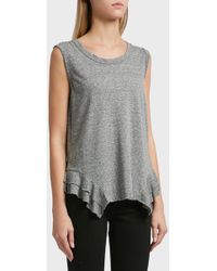 Current/Elliott - Tier Cotton-blend Muscle Tank, Size 2, Women, Grey - Lyst