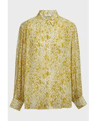 Anine Bing Caleb Printed Silk Shirt - Yellow