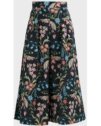 Peter Pilotto Floral-print Cotton Culottes - Green