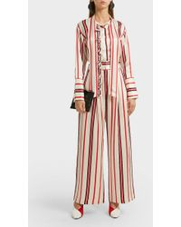 Maggie Marilyn Let's Be Frank Ruffled Striped Silk Shirt - Pink