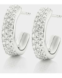 Monica Vinader - Fiji Mini Hoop Diamond Earrings - Lyst