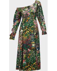 Natasha Zinko Off-shoulder Floral Satin Dress - Green