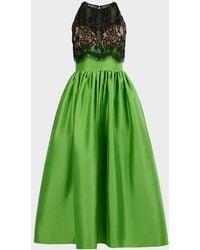Rasario Strapless Silk-lace Corset Gown - Green