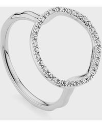 Monica Vinader Diamond And Sterling Silver Riva Circle Ring - Metallic