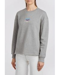 Courreges - Embroidered Cotton-jersey Sweatshirt, Size 1, Women, Grey - Lyst