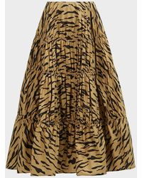 Rejina Pyo Eve Tiger-print Cotton Skirt - Brown