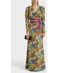 Ronald Van Der Kemp - Floral-print Silk Wrap Dress - Lyst
