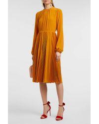 Rochas Lace-trimmed Silk Crepe De Chine Dress - Orange