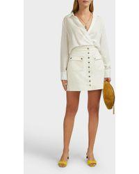 ALEXACHUNG Patch Pocket Cotton-corduroy Skirt - Natural