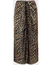Ganni Animal-print Silk-satin Skirt - Black