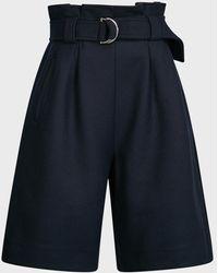Ganni Belted Wool-blend Shorts - Blue