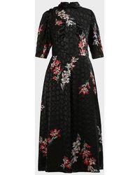 Rebecca Taylor Noha Floral Mock Neck Dress - Black