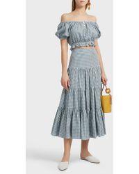 Caroline Constas | Peasant Gingham Cotton-seersucker Skirt | Lyst
