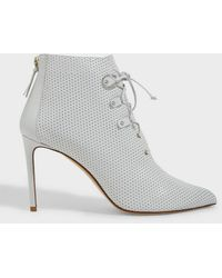 Francesco Russo Perforated Lace-up Leather Boots - Multicolour