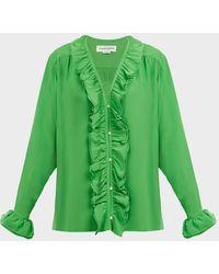 Victoria Beckham V-neck Ruffle Silk Blouse - Green