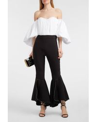 Ellery Ox Bow Cropped Crepe Flared Trousers - Black
